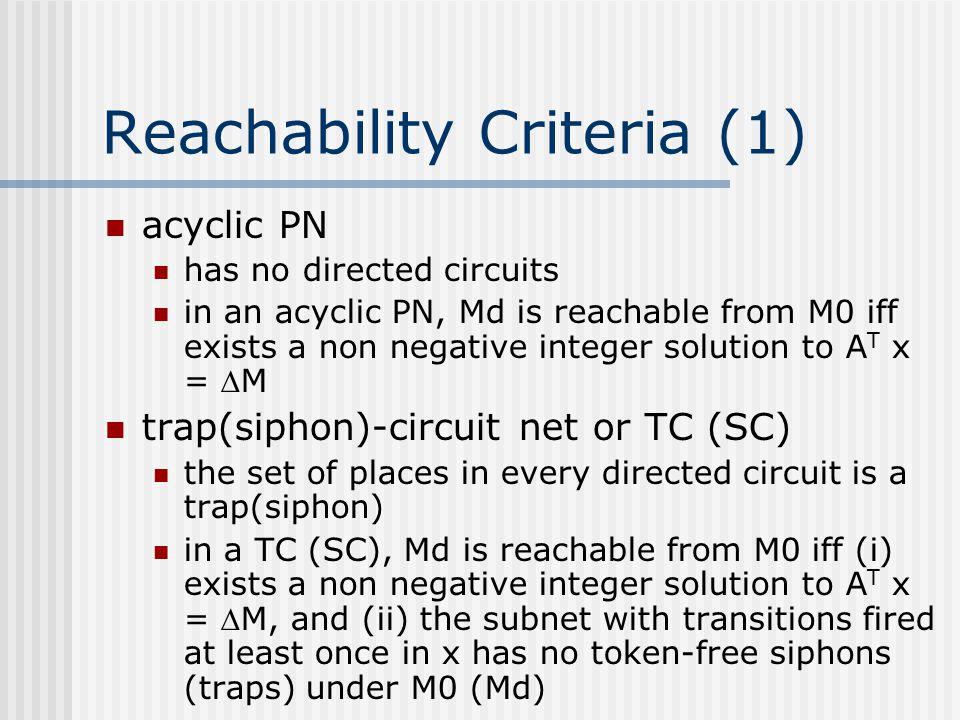 Reachability Criteria (1)