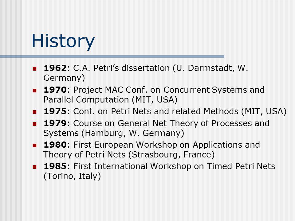 History 1962: C.A. Petri's dissertation (U. Darmstadt, W. Germany)