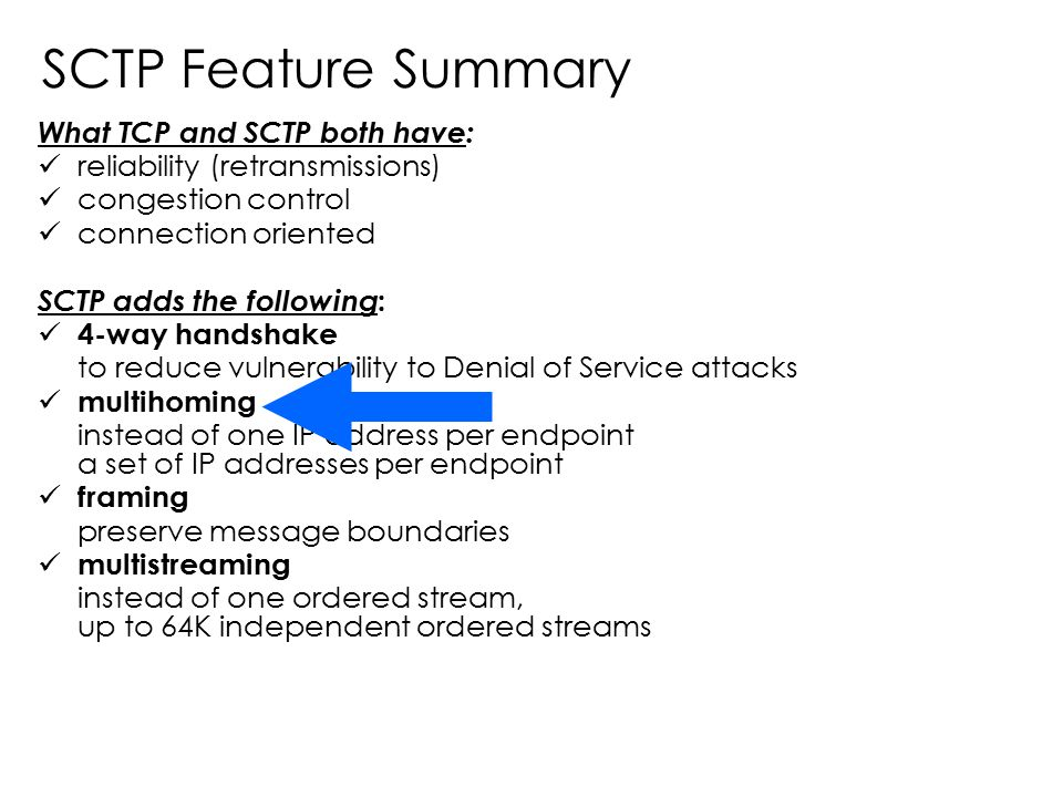 SCTP Feature Summary What TCP and SCTP both have: