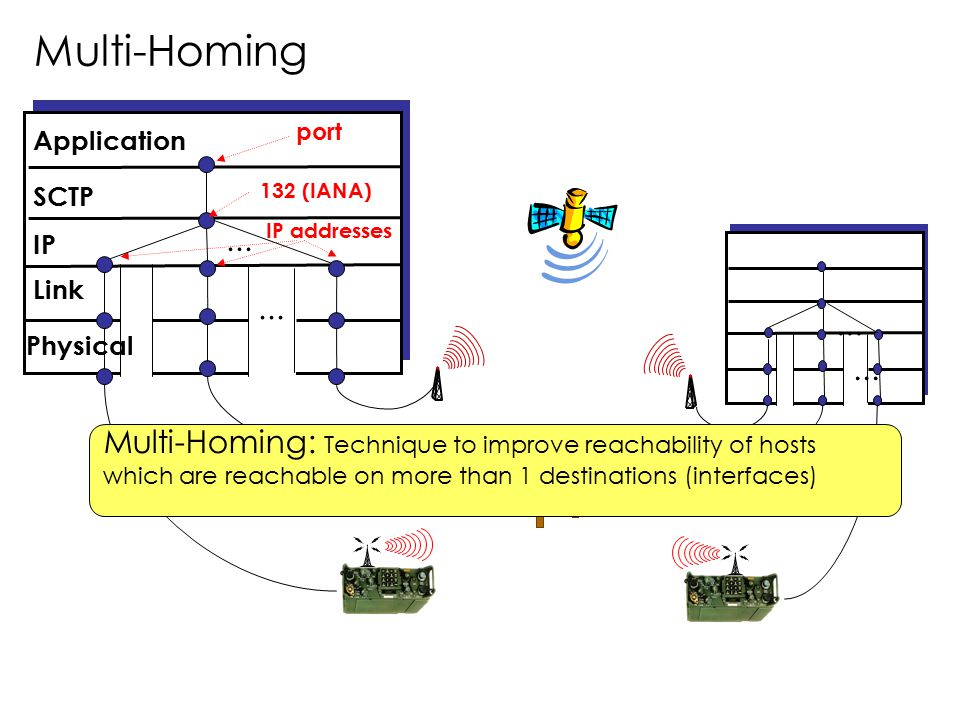 Multi-Homing port. Application. SCTP. 132 (IANA) ... IP addresses. IP. Link. ... ... Physical.