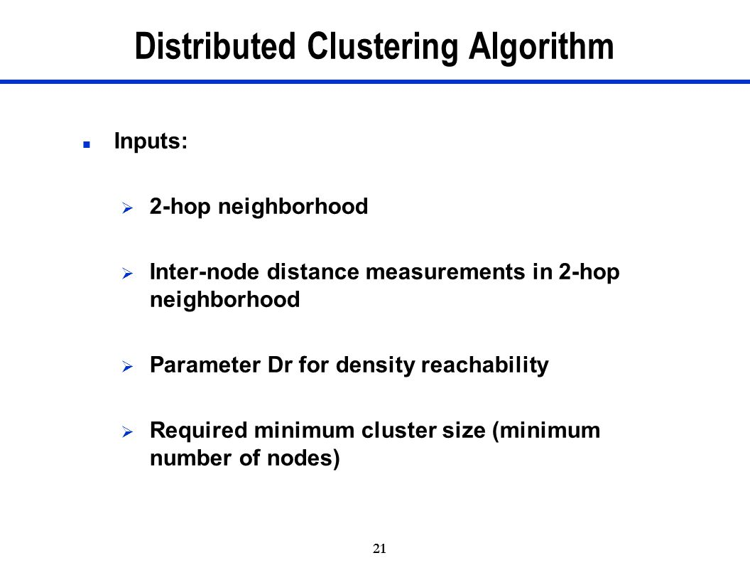 Distributed Clustering Algorithm