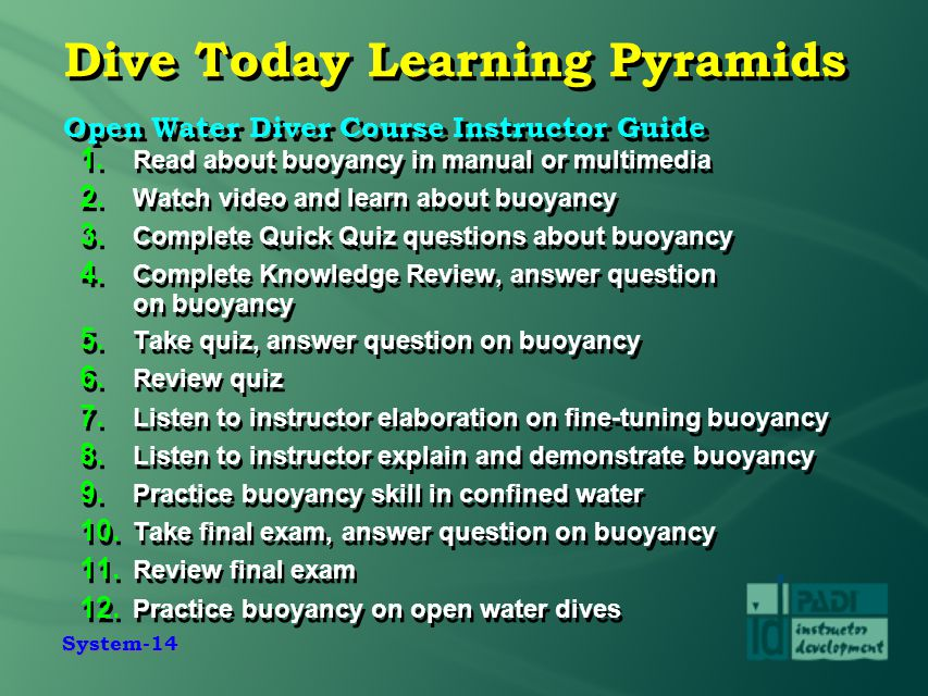 Dive Today Learning Pyramids Open Water Diver Course Instructor Guide