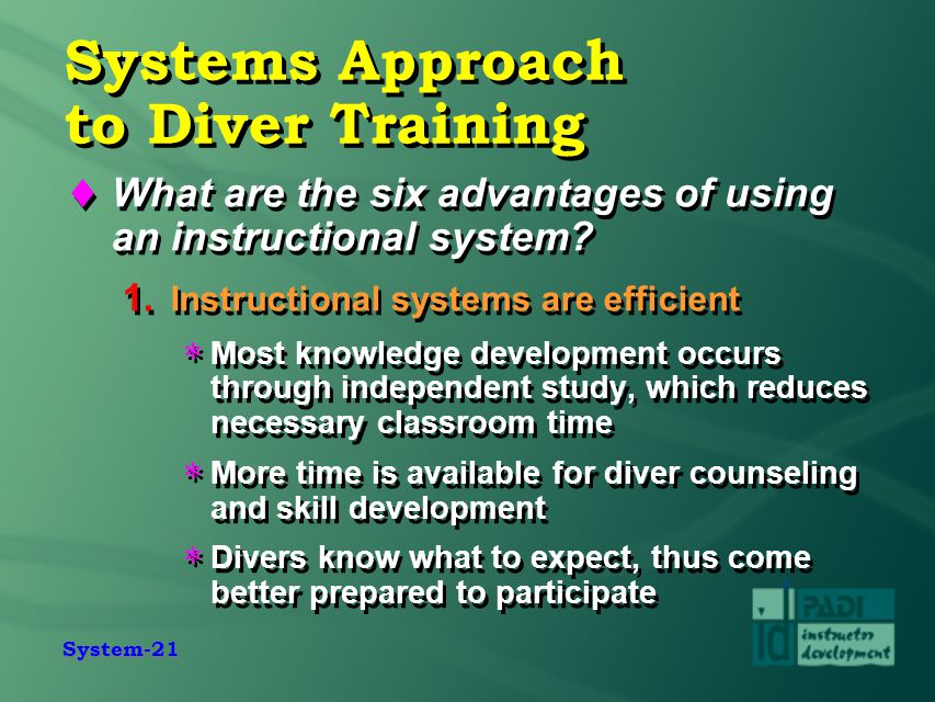 Systems Approach to Diver Training
