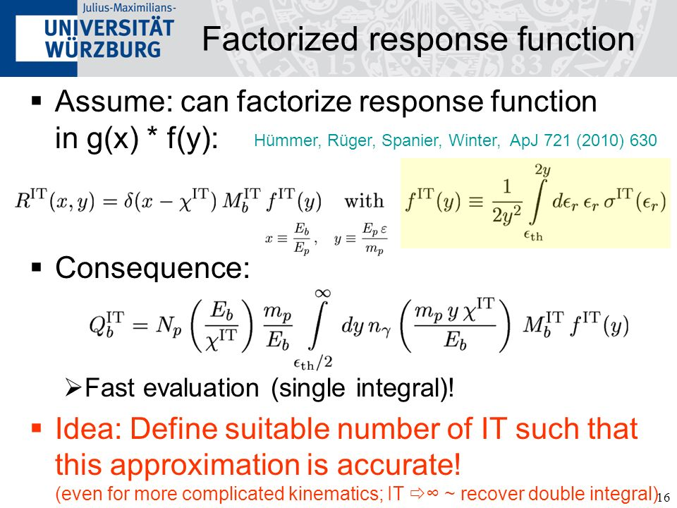 Factorized response function