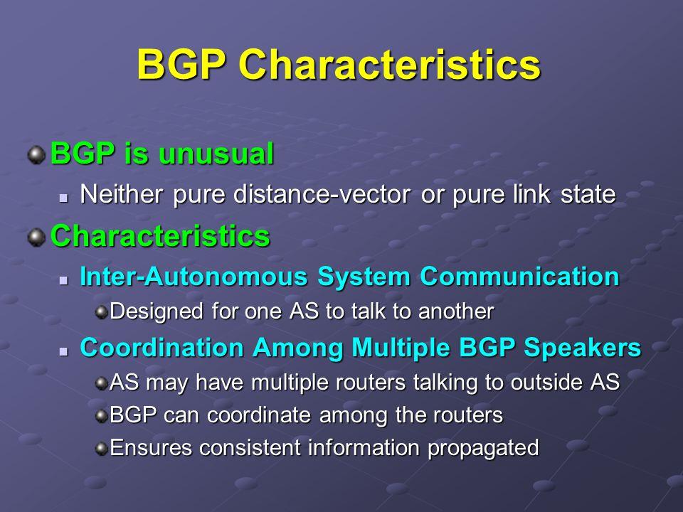 BGP Characteristics BGP is unusual Characteristics