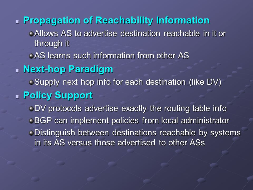 Propagation of Reachability Information