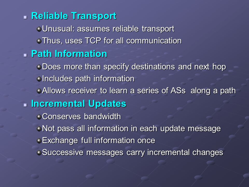 Reliable Transport Path Information Incremental Updates