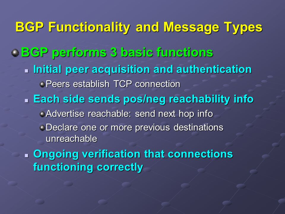 BGP Functionality and Message Types
