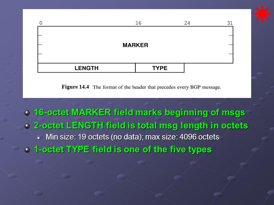 16-octet MARKER field marks beginning of msgs