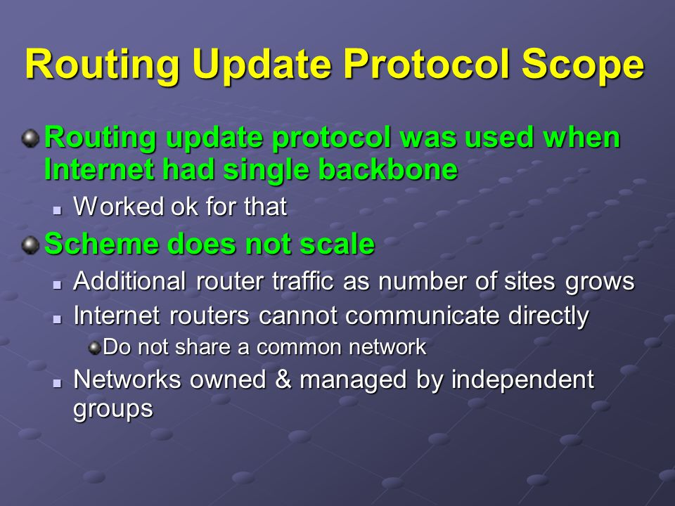 Routing Update Protocol Scope