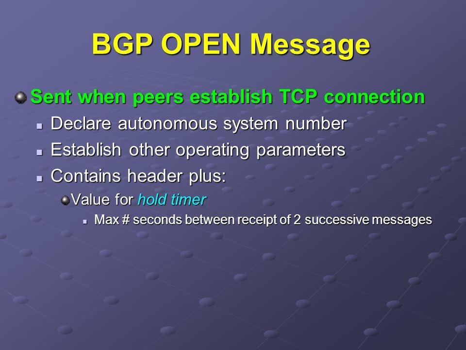 BGP OPEN Message Sent when peers establish TCP connection