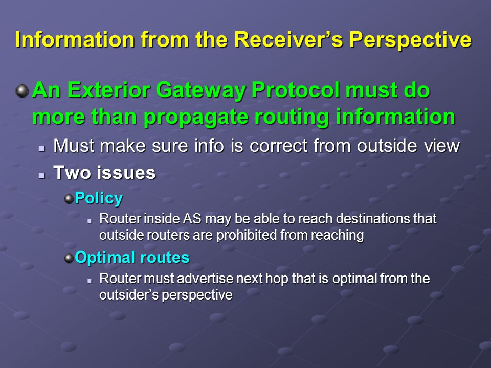 Information from the Receiver's Perspective