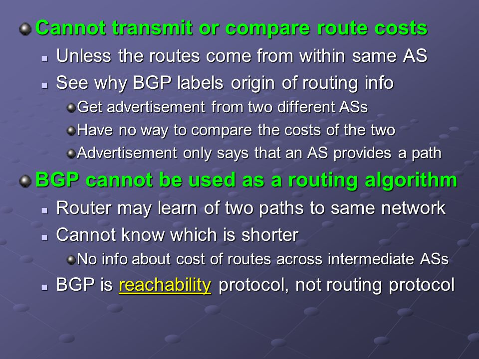 Cannot transmit or compare route costs