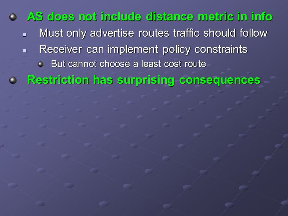 AS does not include distance metric in info