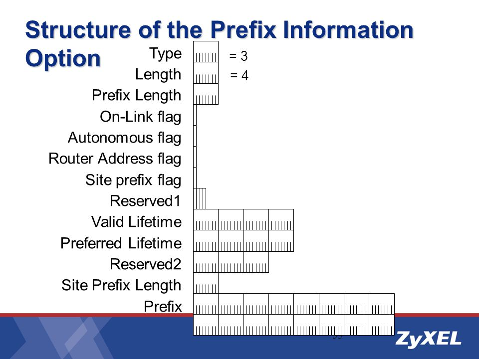 Structure of the Prefix Information Option