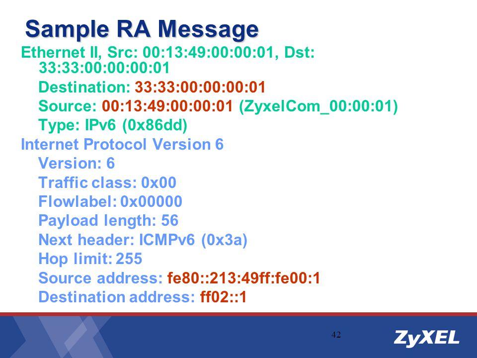 Sample RA Message Ethernet II, Src: 00:13:49:00:00:01, Dst: 33:33:00:00:00:01. Destination: 33:33:00:00:00:01.