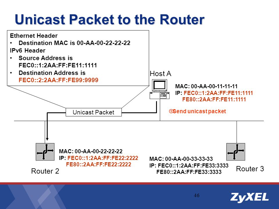 Unicast Packet to the Router