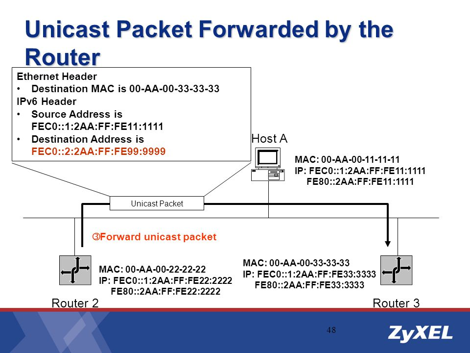 Unicast Packet Forwarded by the Router