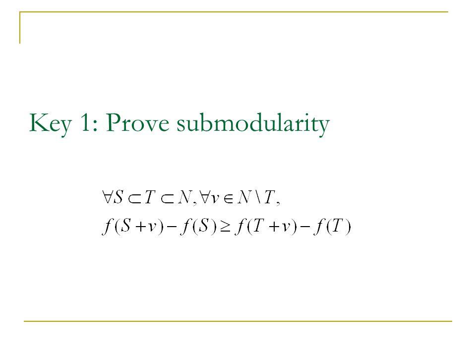 Key 1: Prove submodularity