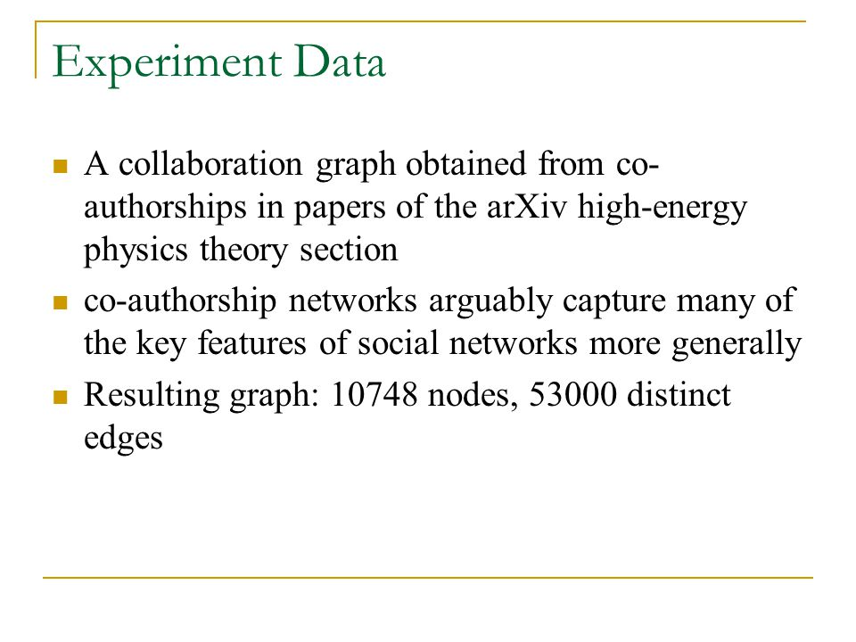 Experiment Data A collaboration graph obtained from co-authorships in papers of the arXiv high-energy physics theory section.