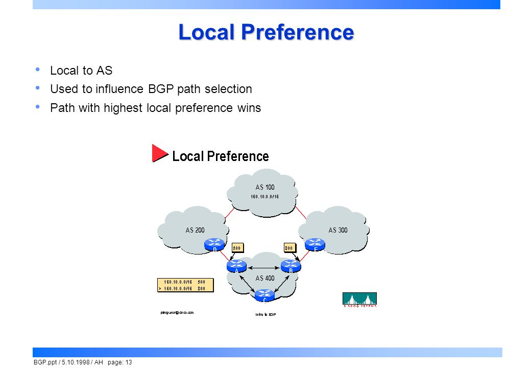 Local Preference Local to AS Used to influence BGP path selection