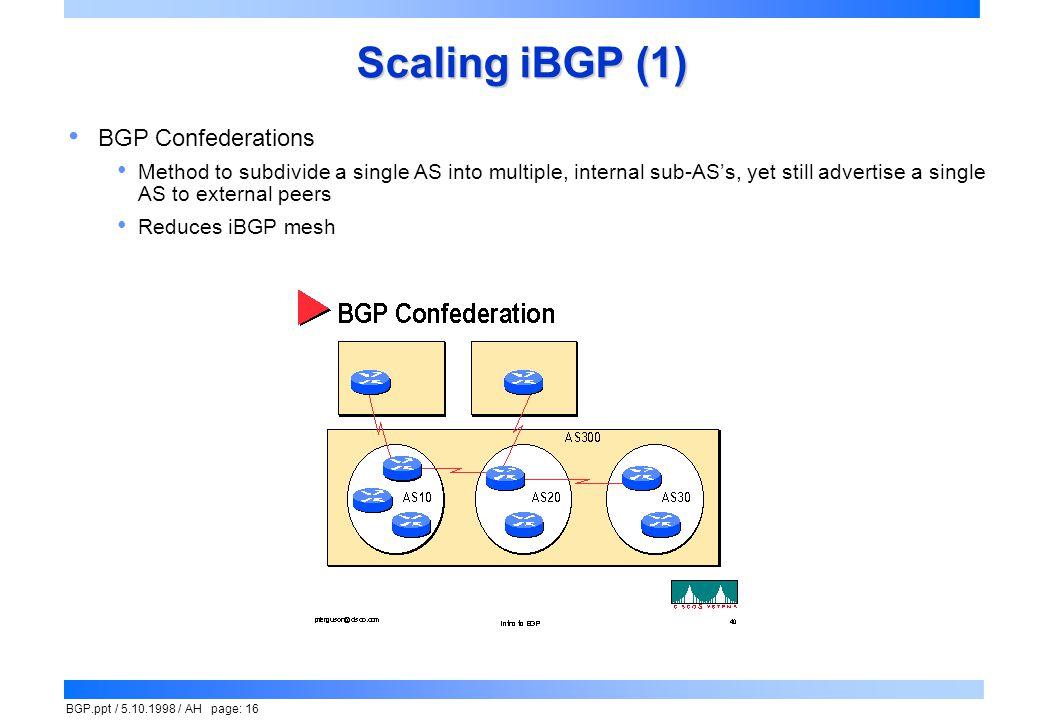 Scaling iBGP (1) BGP Confederations