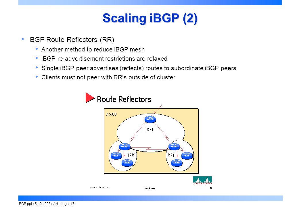 Scaling iBGP (2) BGP Route Reflectors (RR)