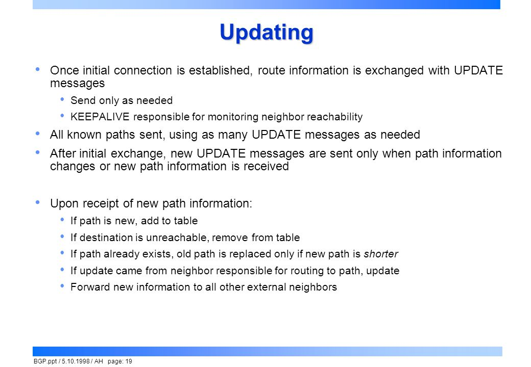 Updating Once initial connection is established, route information is exchanged with UPDATE messages.