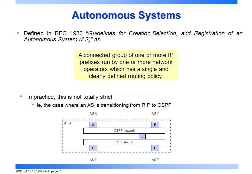 Autonomous Systems Defined in RFC 1930 Guidelines for Creation,Selection, and Registration of an Autonomous System (AS) as.