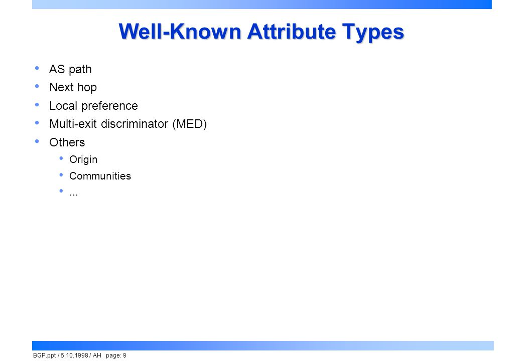 Well-Known Attribute Types