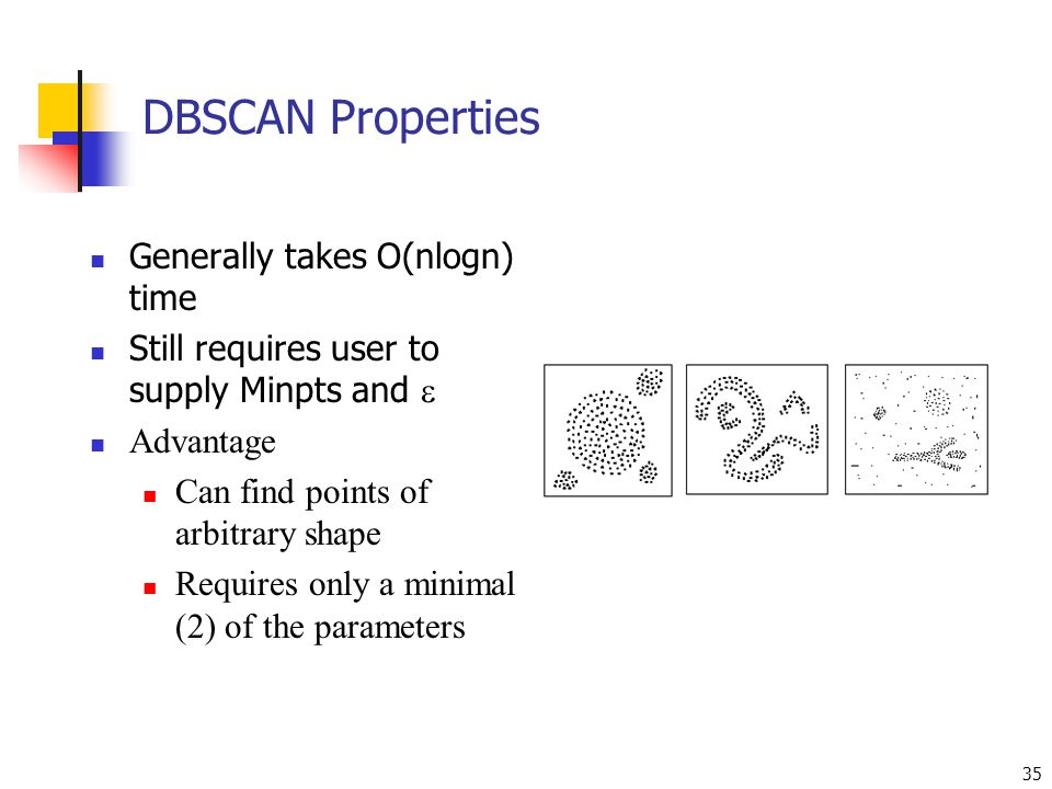 DBSCAN Properties Generally takes O(nlogn) time