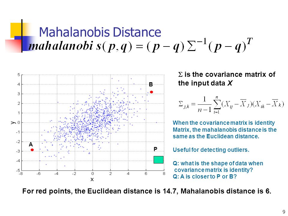Mahalanobis Distance  is the covariance matrix of the input data X