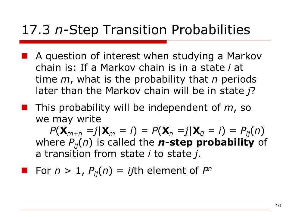 17.3 n-Step Transition Probabilities