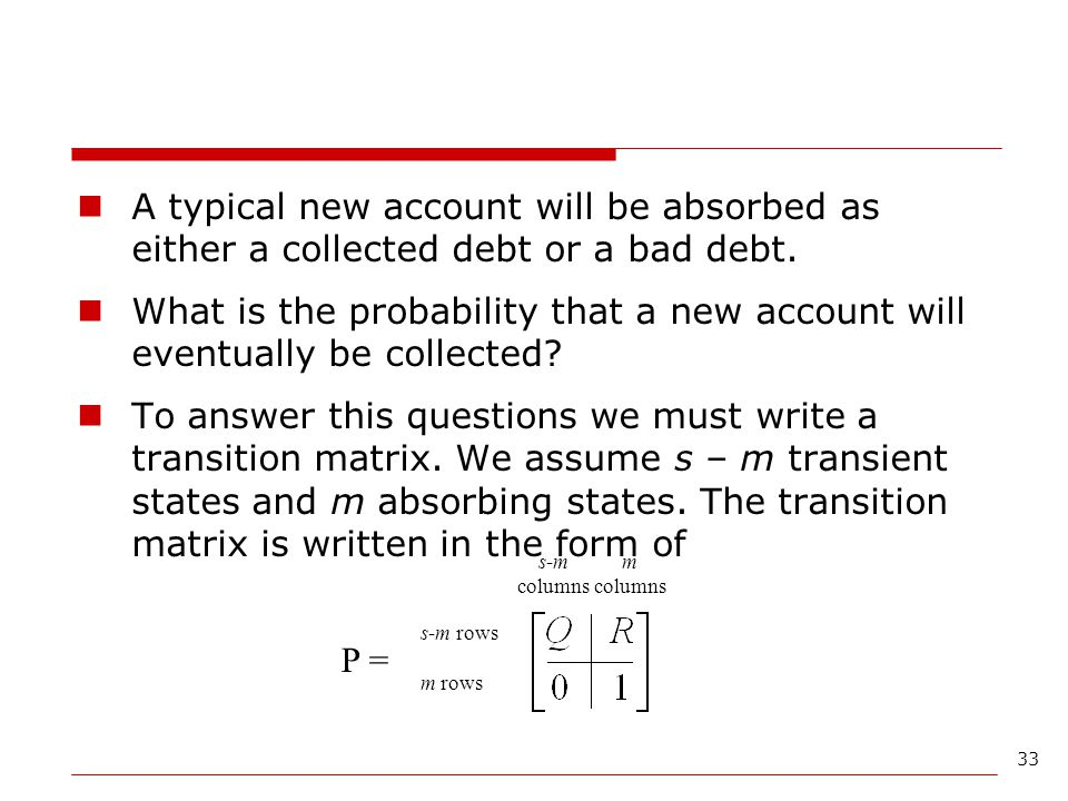 A typical new account will be absorbed as either a collected debt or a bad debt.