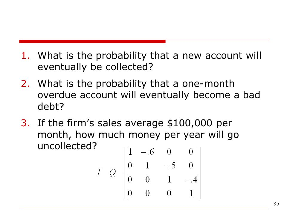 What is the probability that a new account will eventually be collected