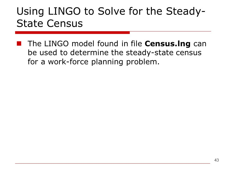 Using LINGO to Solve for the Steady-State Census