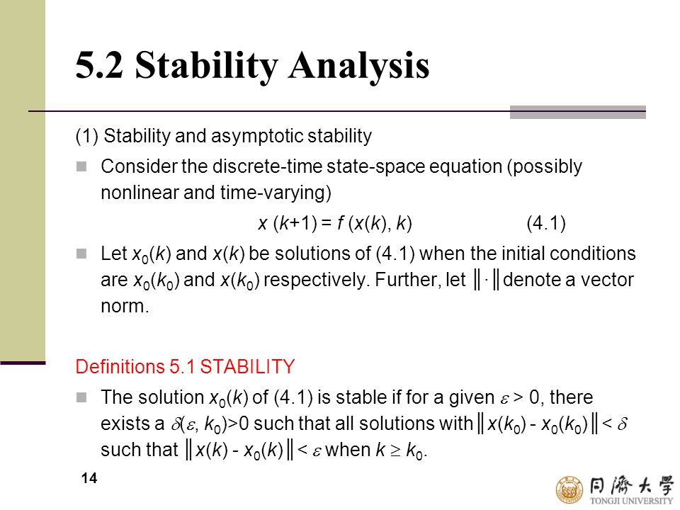 5.2 Stability Analysis (1) Stability and asymptotic stability