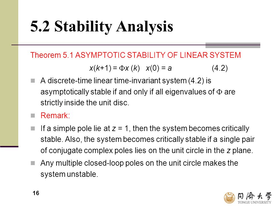 5.2 Stability Analysis Theorem 5.1 ASYMPTOTIC STABILITY OF LINEAR SYSTEM. x(k+1) = x (k) x(0) = a (4.2)