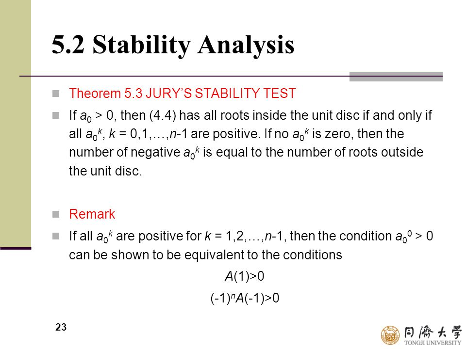 5.2 Stability Analysis Theorem 5.3 JURY'S STABILITY TEST