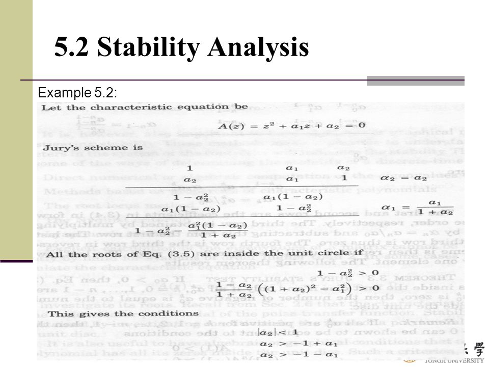 5.2 Stability Analysis Example 5.2: | |