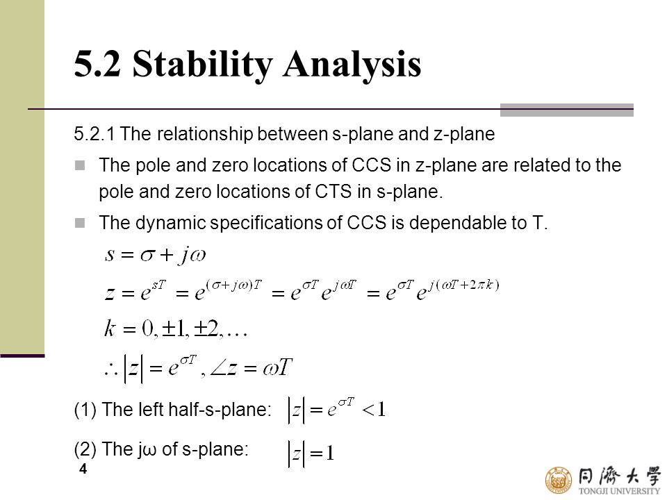 5.2 Stability Analysis 5.2.1 The relationship between s-plane and z-plane.