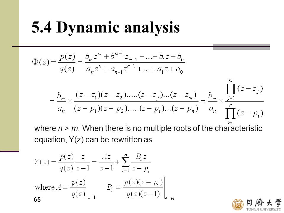 5.4 Dynamic analysis where n > m.