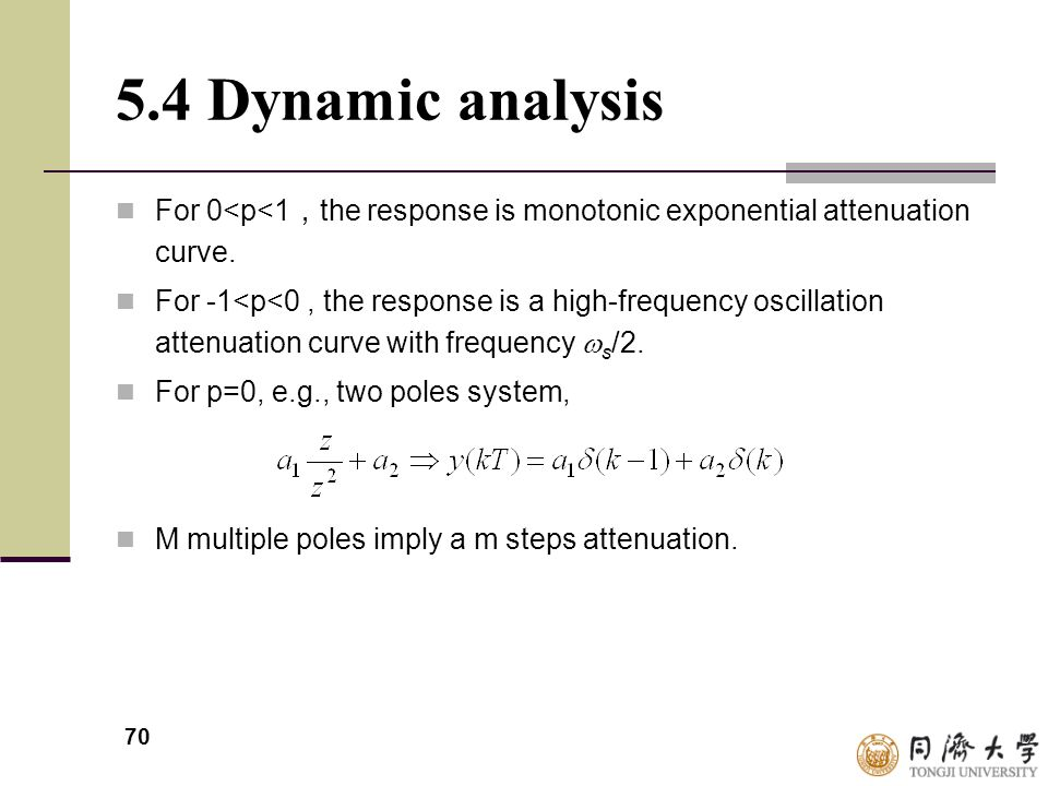 5.4 Dynamic analysis For 0<p<1,the response is monotonic exponential attenuation curve.