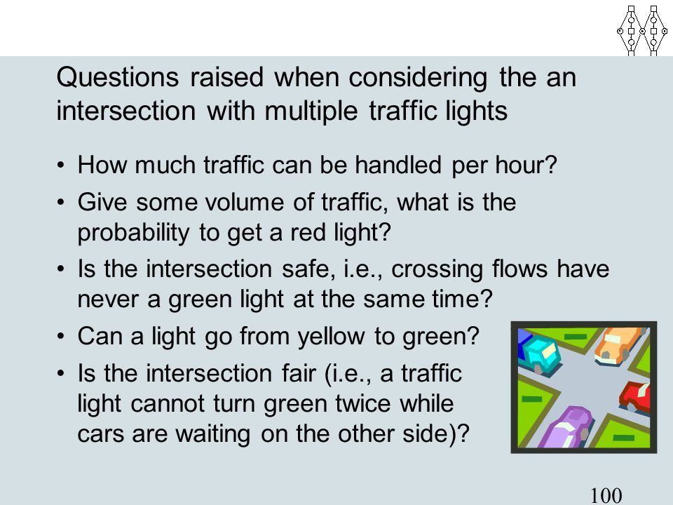 Questions raised when considering the an intersection with multiple traffic lights