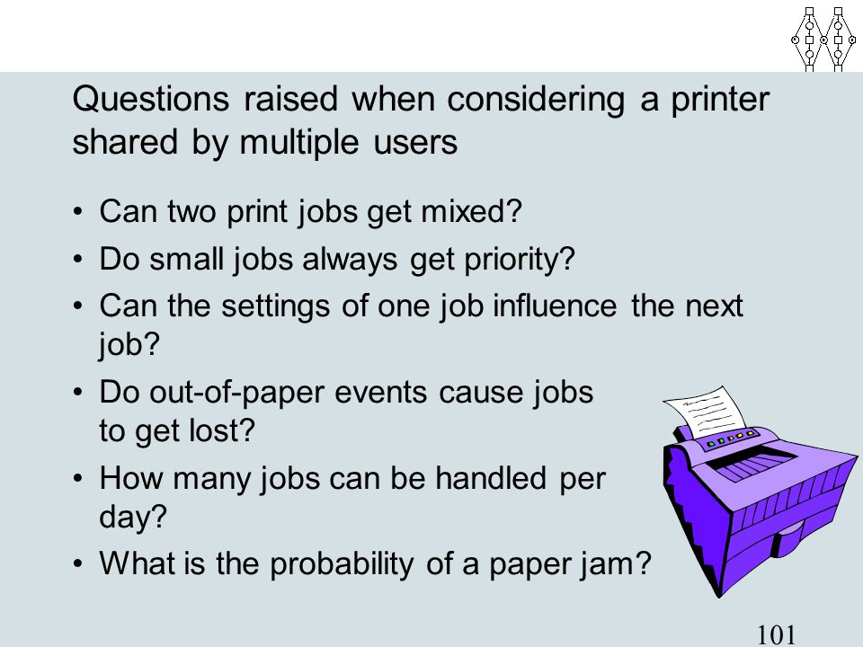 Questions raised when considering a printer shared by multiple users