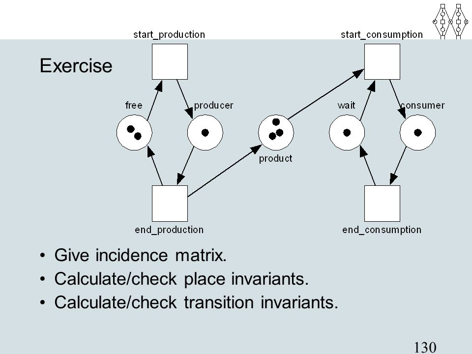 Exercise Give incidence matrix. Calculate/check place invariants.