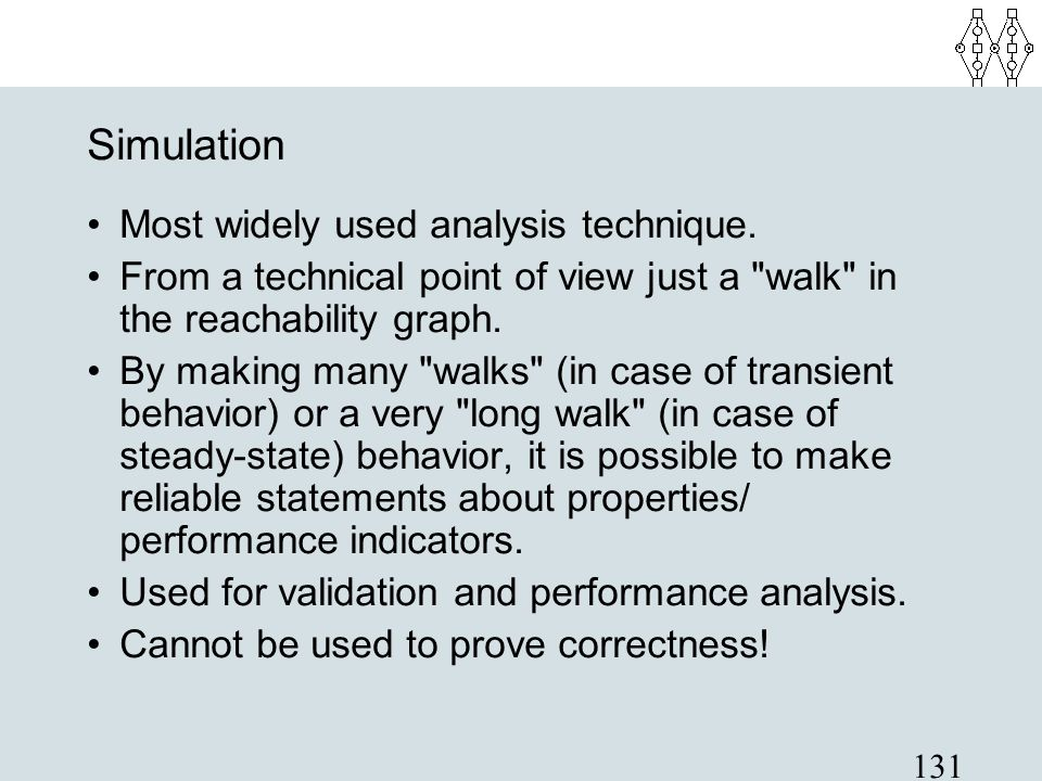 Simulation Most widely used analysis technique.