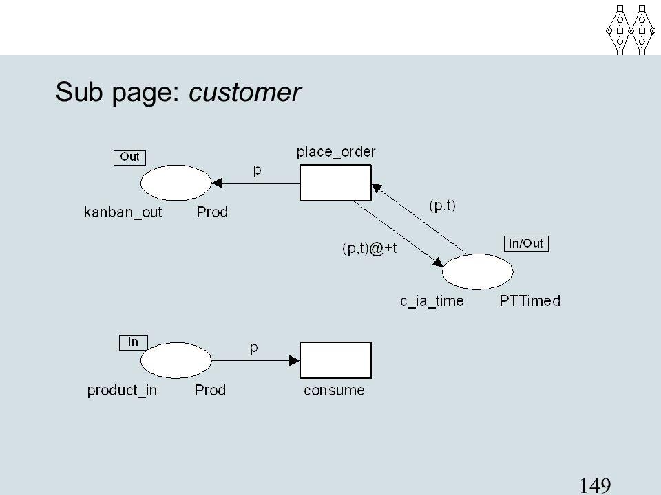 Sub page: customer