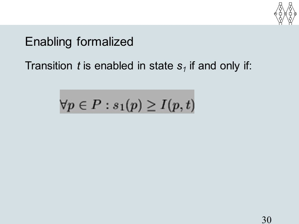 Enabling formalized Transition t is enabled in state s1 if and only if: