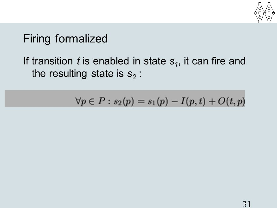 Firing formalized If transition t is enabled in state s1, it can fire and the resulting state is s2 :